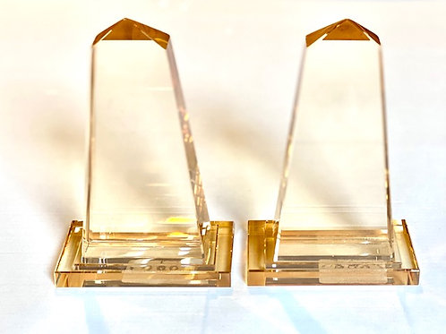 Smoke Glass Tower Bookends - Pair