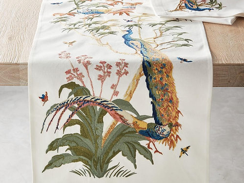 Embroidered Peacock Tablerunner