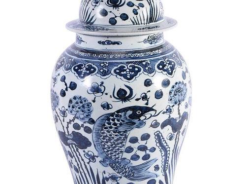 Koi Fish Porcelain Temple Jar