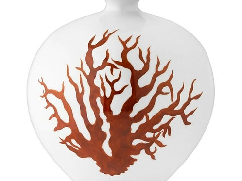 White Pomegranate Vase with Red Coral Print