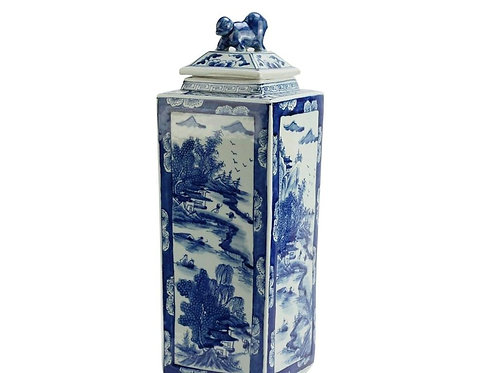 Tall Square Jar with Scenery Painting