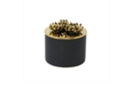 Ceramic Petal Canister - Black/Gold