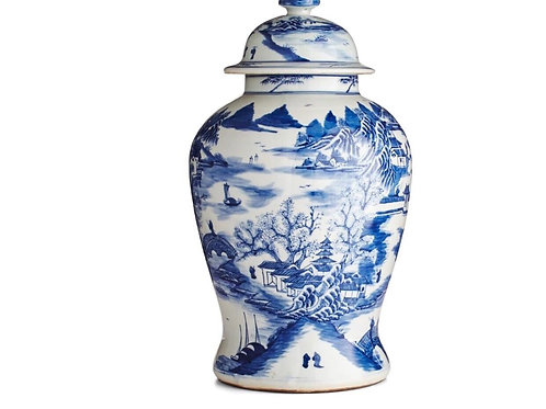 Mountain Village Scene Porcelain Temple Jar