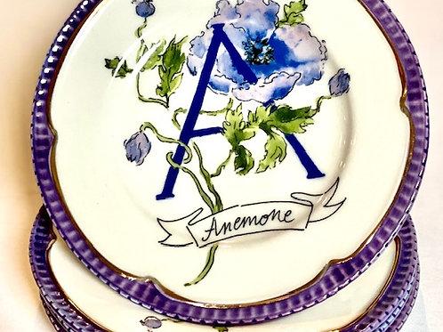 Floral Monogram Canape Plates - S/4