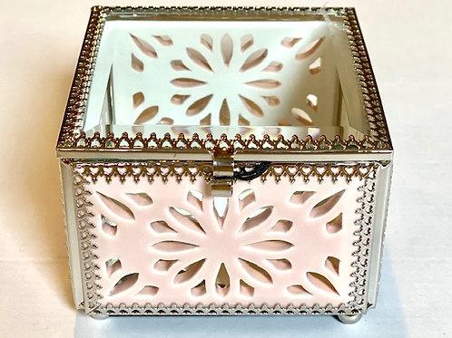 Ornate Jewelry Glass Box Pink Cutout - 4 x 4