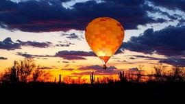 balloon at sunset