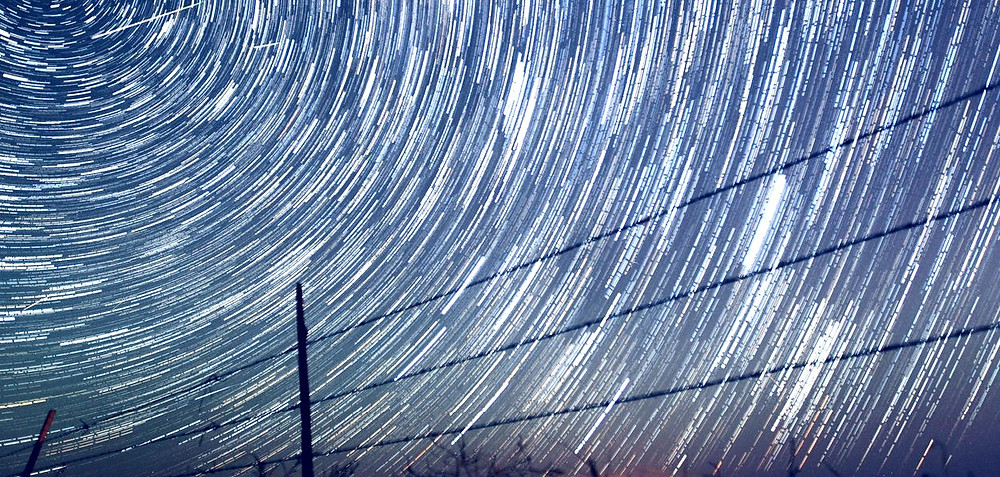 Layered time-lapse photo of meteor shower