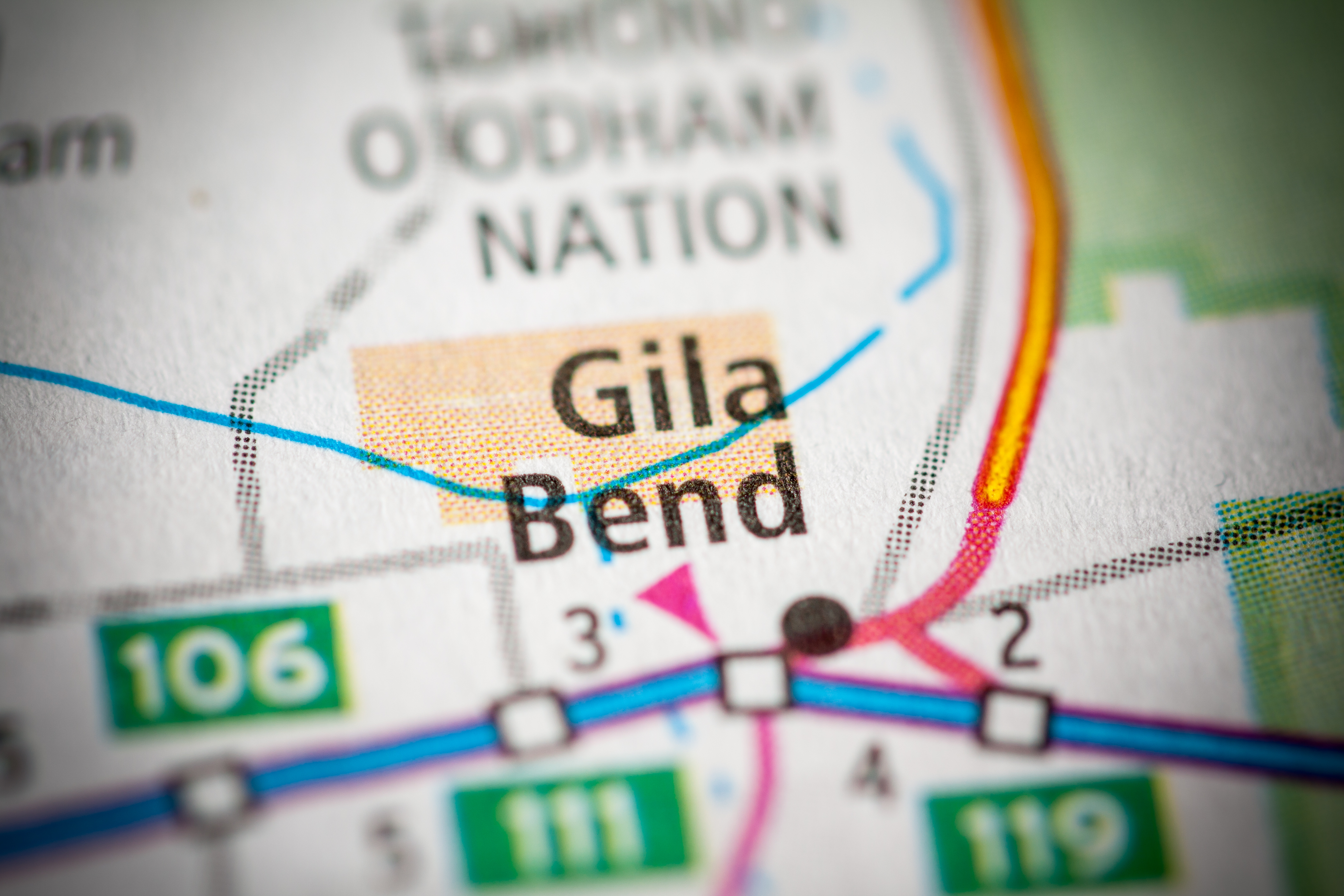 enlarged map shows gila bend