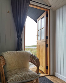 Donegal Tweed Curtains in the Shepherd's Hut