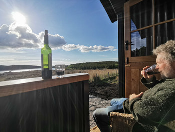 Enjoying the Sunset from the new Shepherd's Hut