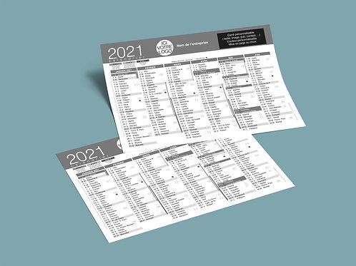 Personnalisation + impression + Livraison 5000 calendriers 2021