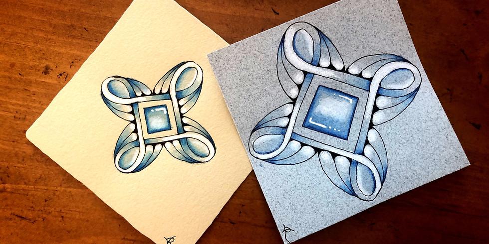 Blue Celctic Knot Zentangling