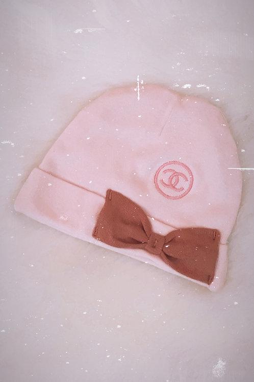Pink cc newborn hat
