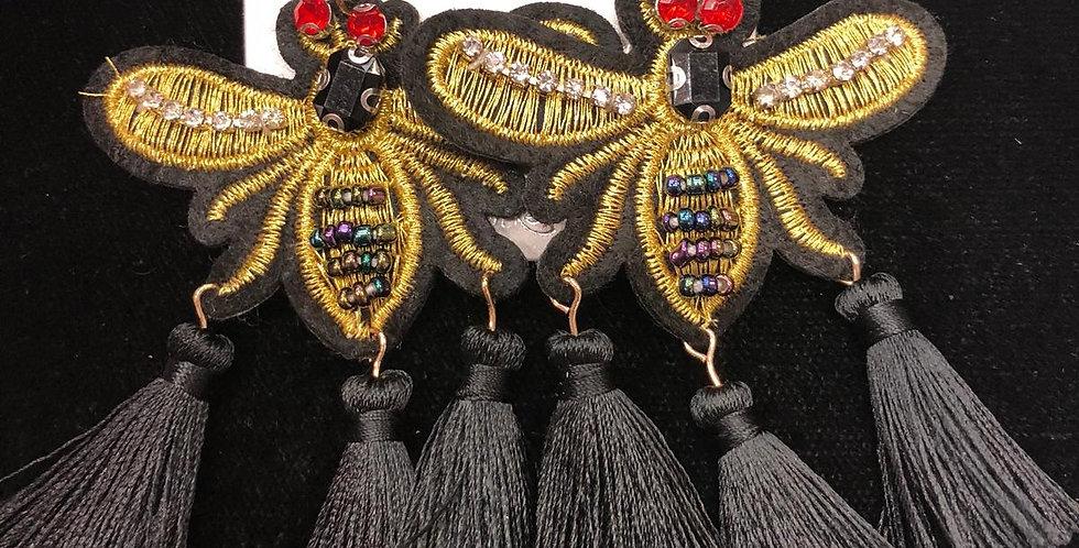 Bee Black Earrings