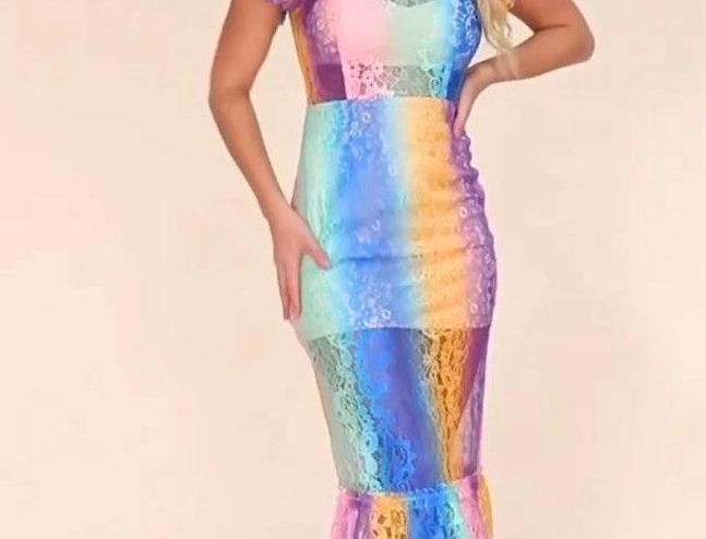 Multicolor?Lace Dress