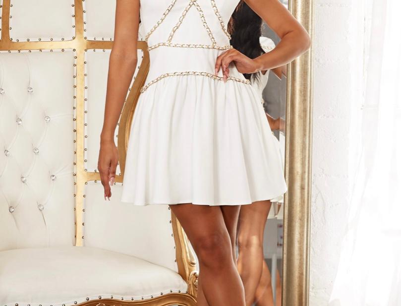 White Gold Chain Dress