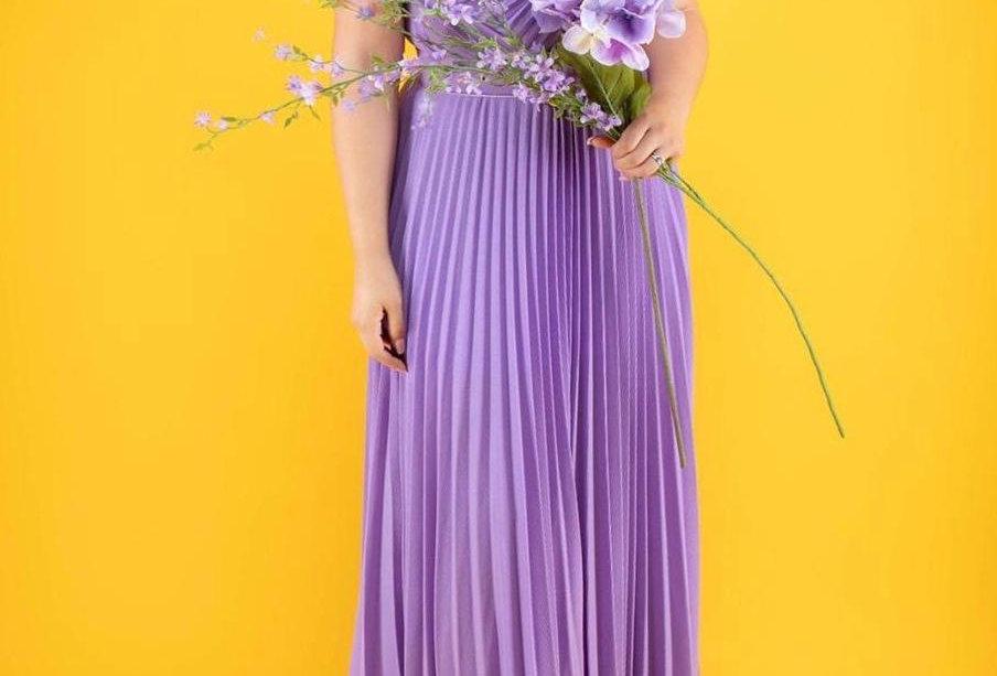 Lavander Pleated Long Dress