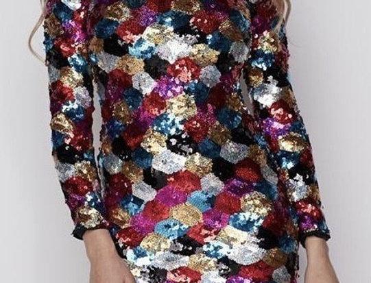 Multicolor High Neck Dress