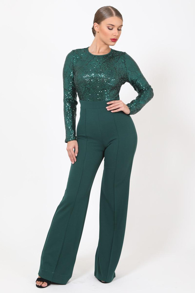 Green Sequins Jumpsuit