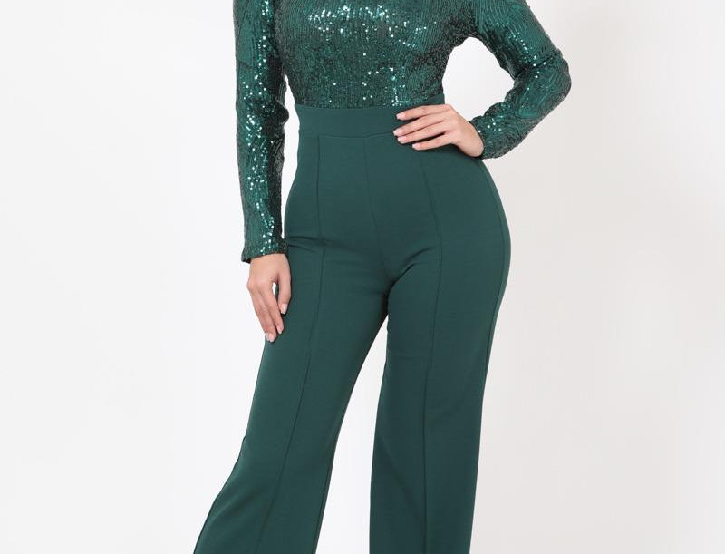 Green Sequins Jumpsuit