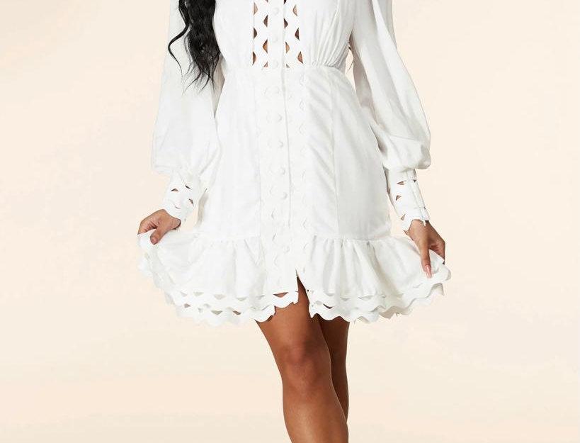 Cleavage Detail White Dress
