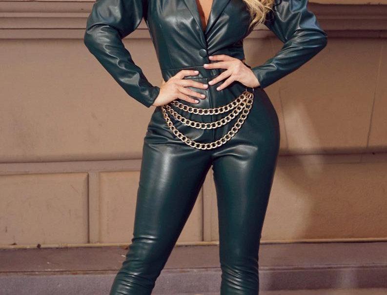 Jumpsuit Faux Leather | Chain Belt