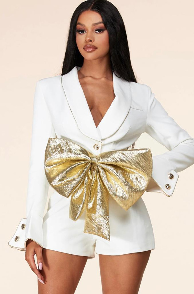 Gold Bow Romper