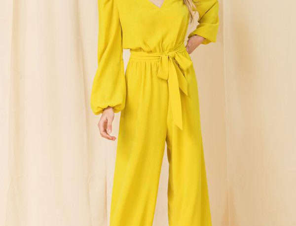 Puff Sleeve Yellow Jumpsuit