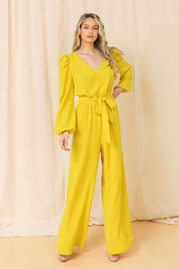 Puff Sleeve Yellow Jumpsuit