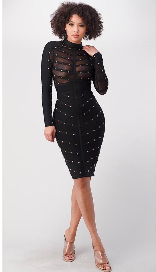 Black | Gold Bandage Dress