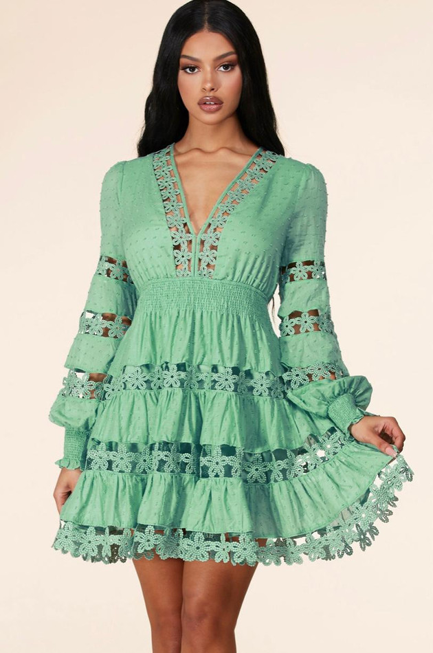 Green Embroider Mini Dress