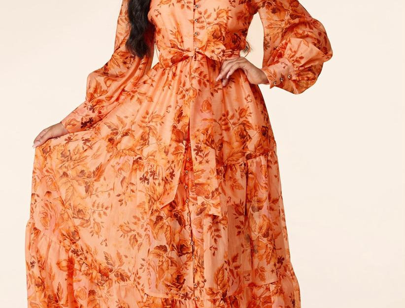 Pop Orange Floral Dress