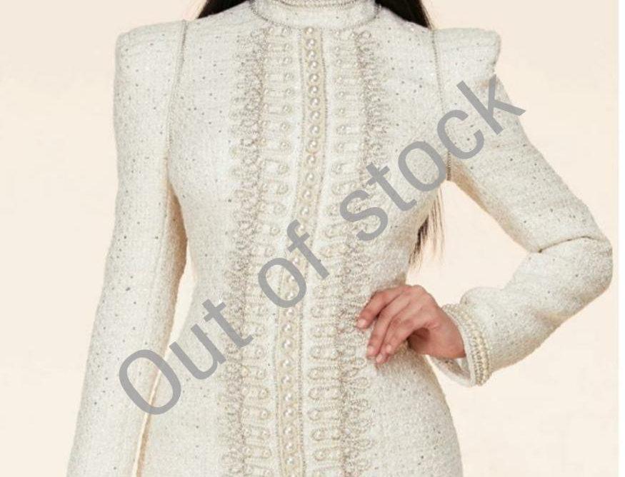 Cream Pearl/Tweed Dress