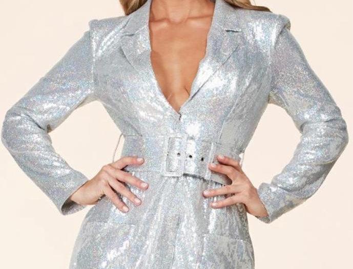 Silver Sequins Blazer Dress
