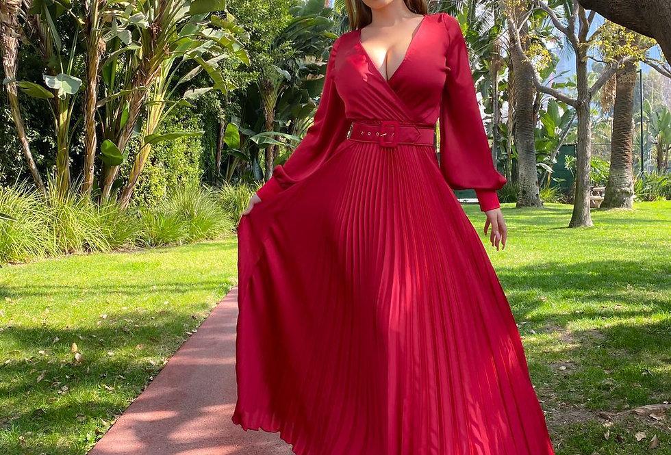 Burgandy Satin Pleated Dress