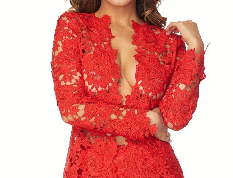 Red Lace Short Set