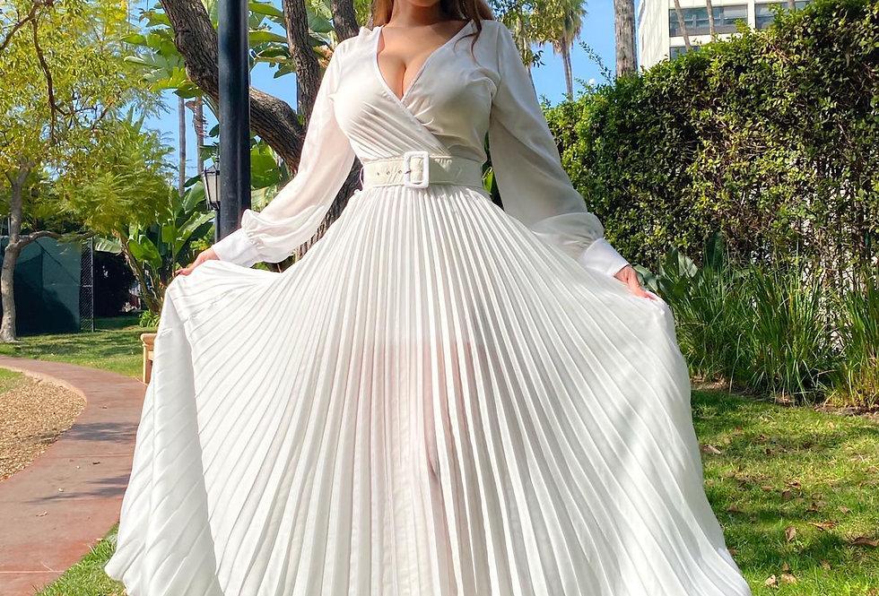 White Satin Pleated Dress