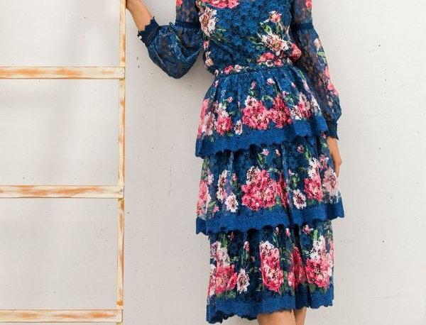 Roses Blouse & Skirt Set