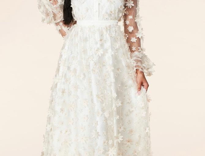 3D Flowers Ivory  Dress