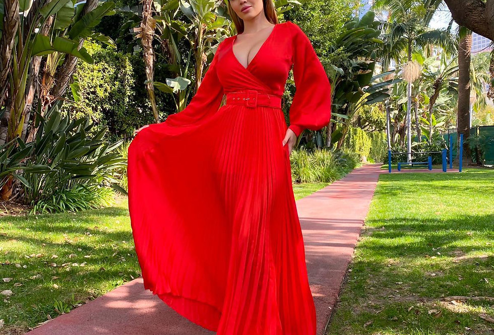 Red Satin Pleated Dress