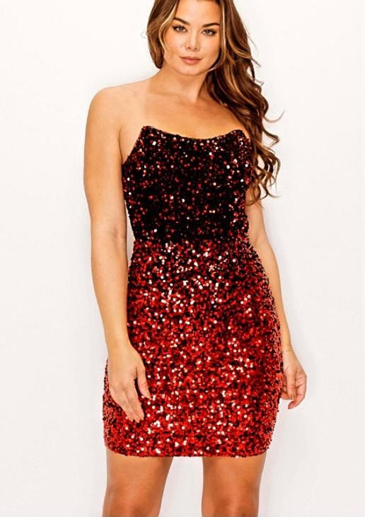 Red Sequins Dress