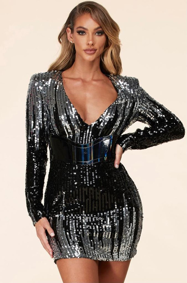 Balck/Silver Sequins Dress