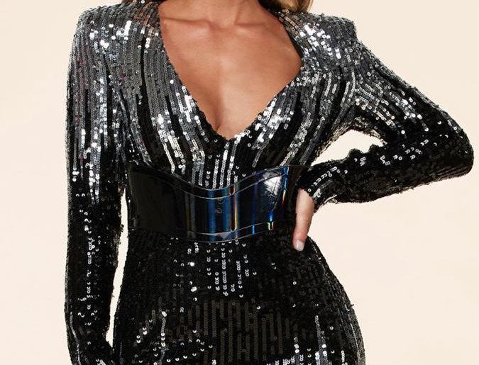 Black/Silver Sequins Dress
