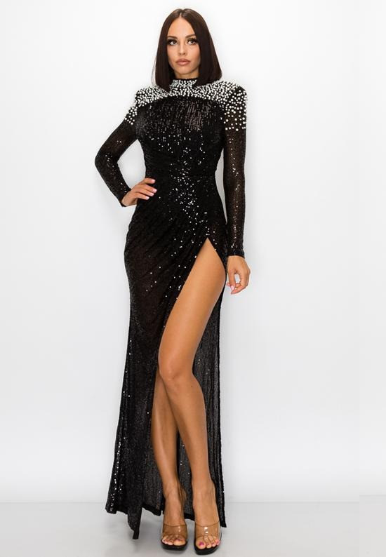 Open Leg Sequins Dress