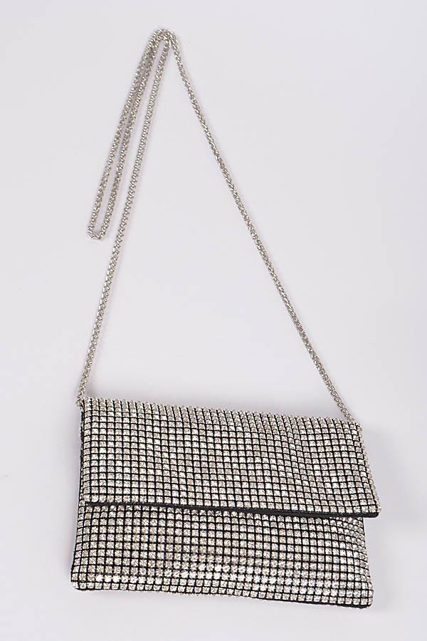 Rhinestone Mesh Silver Bag