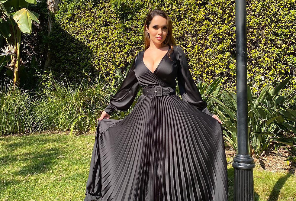 Black Satin Pleated Dress