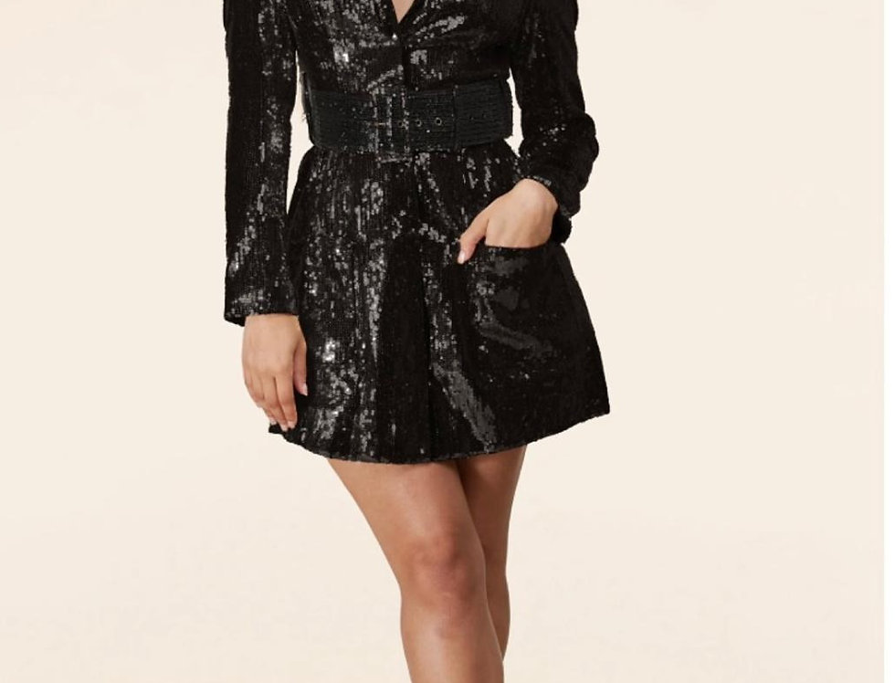 Black Sequins Blazer Dress