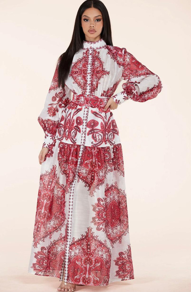 Crimson Paisley Dress