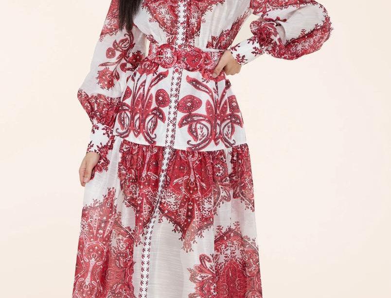 Crimson Paisley Dress