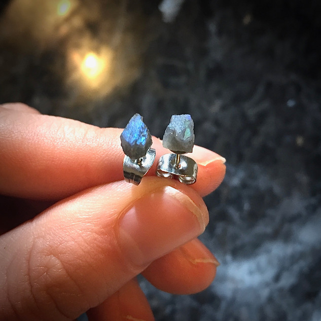 Raw Labradorite Earrings